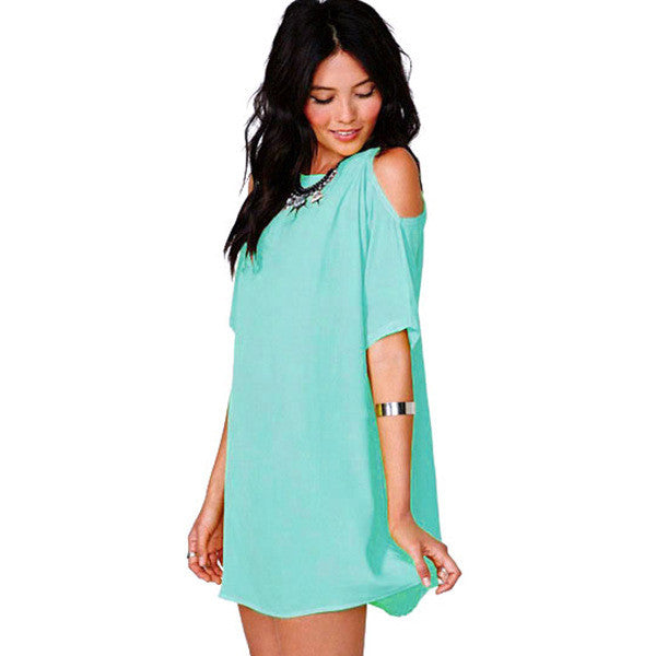Chiffon Hollow O-neck Short Sleeve Short Dress - Oh Yours Fashion - 6