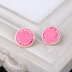 Candy Color LOGO Button Earrings - Oh Yours Fashion - 4