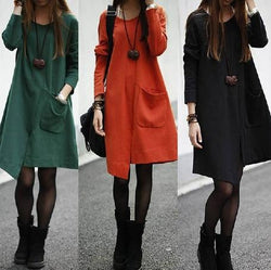 Irregular Big Pocket Scoop Long Sleeves Knee-length Sweatdress - Meet Yours Fashion - 2