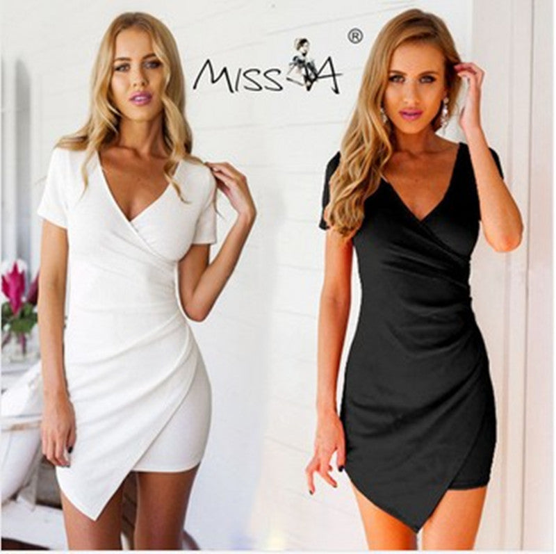 V-neck Short Sleeves Irregular Sexy Short Dress - Oh Yours Fashion - 2