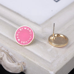 Candy Color LOGO Button Earrings - Oh Yours Fashion - 7