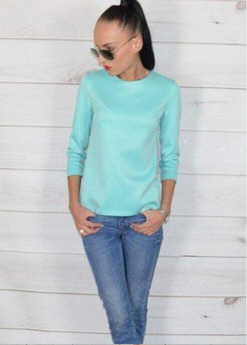 Scoop 3/4 Sleeves Back Button Pure Color Chiffon Blouse - Oh Yours Fashion - 2