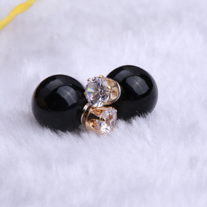 Fashion Crystal Zircon Double Pearl Earring - Oh Yours Fashion - 15