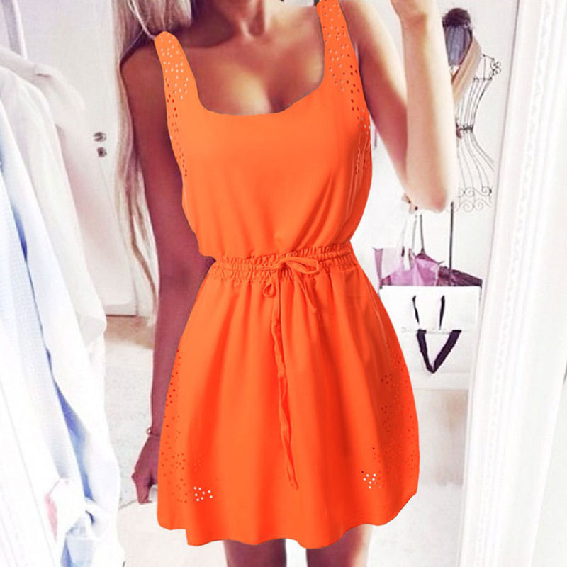 Chiffon Hollow Out Sheath High Waist Dress - Oh Yours Fashion - 6