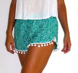 Flower Print Balls Elastic Beach Hot Shorts - Meet Yours Fashion - 2