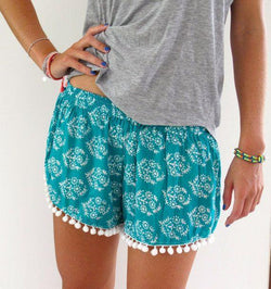 Flower Print Balls Elastic Beach Hot Shorts - Meet Yours Fashion - 1