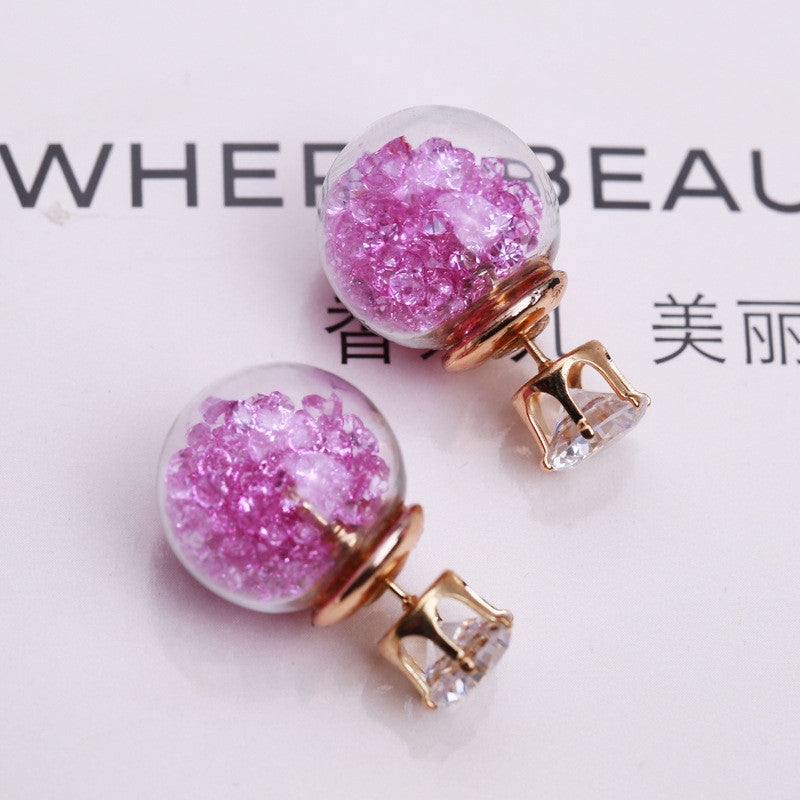 Color Quicksand Zircon Crystal Ball Earring - Oh Yours Fashion - 11