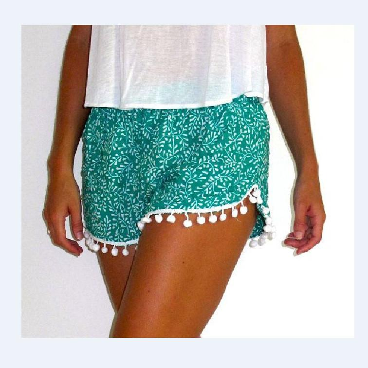 Flower Print Balls Elastic Beach Hot Shorts - Meet Yours Fashion - 3