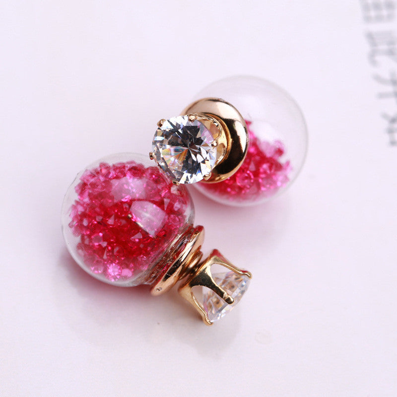 Color Quicksand Zircon Crystal Ball Earring - Oh Yours Fashion - 7