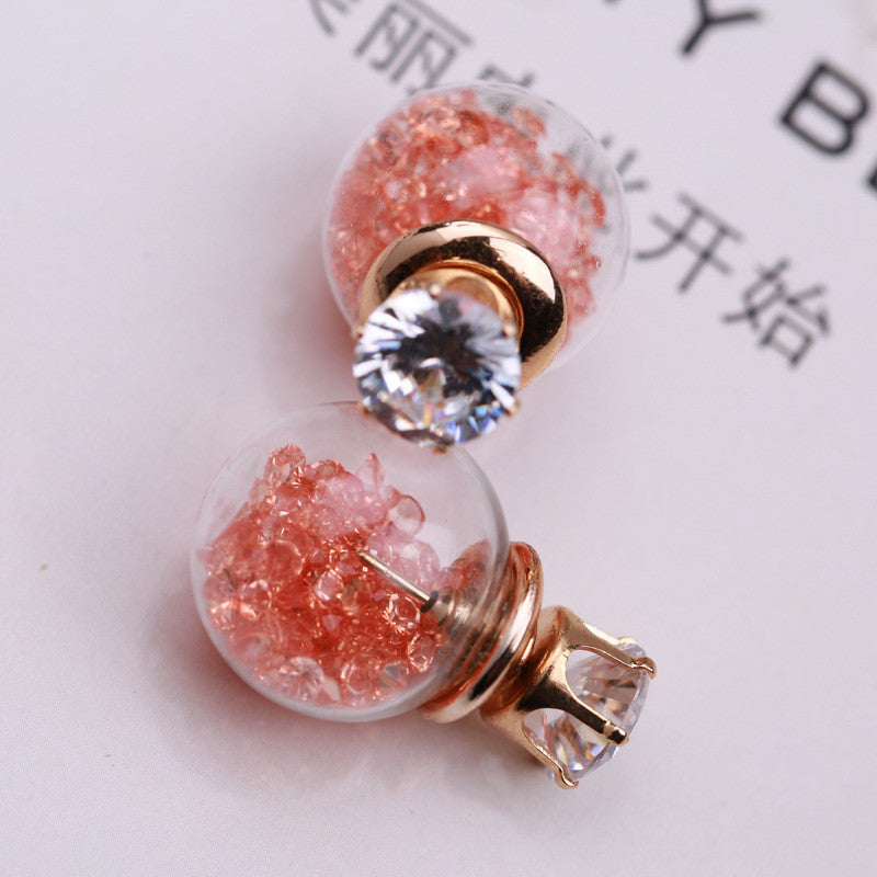 Color Quicksand Zircon Crystal Ball Earring - Oh Yours Fashion - 9