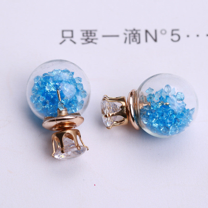 Color Quicksand Zircon Crystal Ball Earring - Oh Yours Fashion - 14