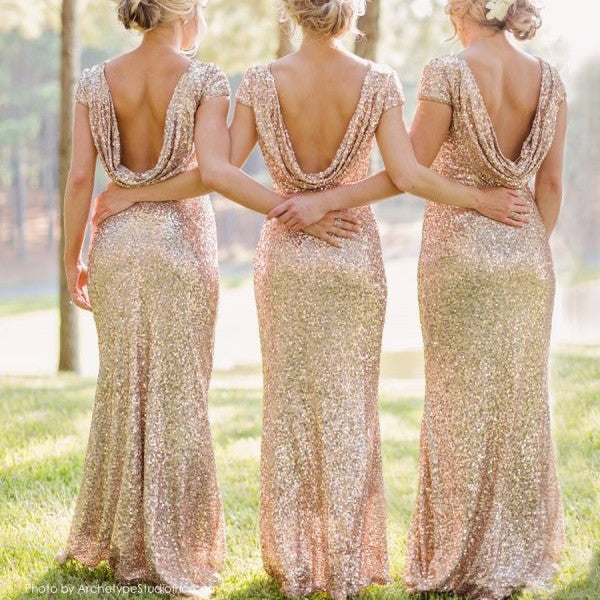 Shinning Backless Sequined Long Party Bridesmaid Dress - Oh Yours Fashion - 1