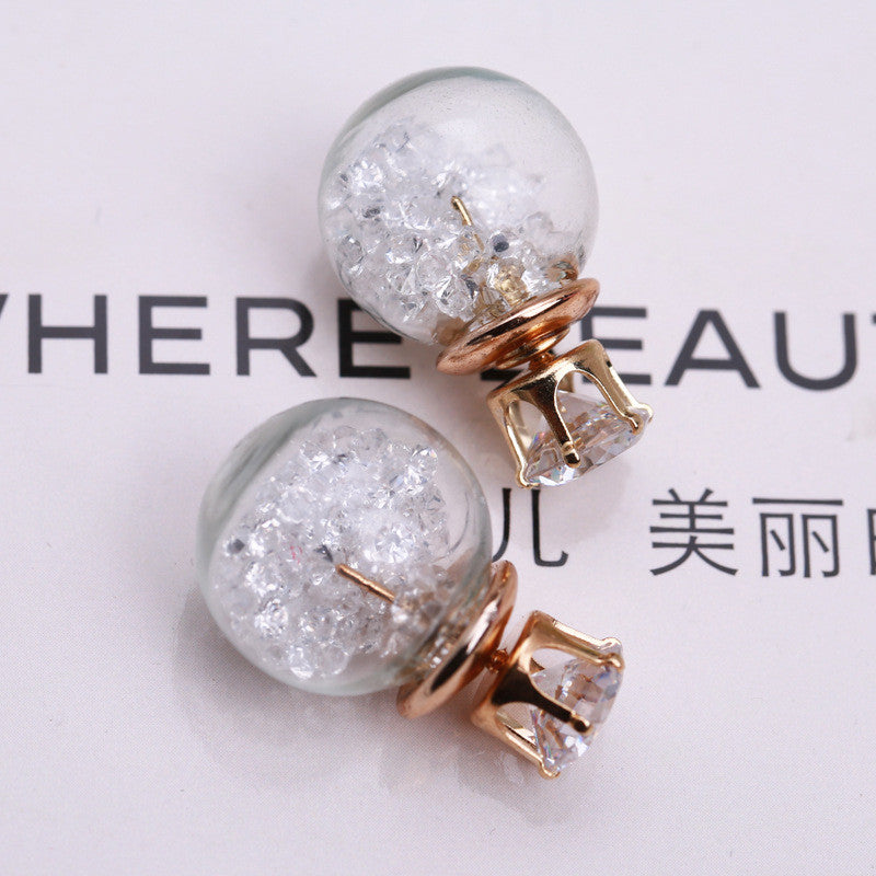 Color Quicksand Zircon Crystal Ball Earring - Oh Yours Fashion - 8