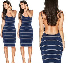 Backless Stripe Knee Length Bodycon Dress - O Yours Fashion - 2