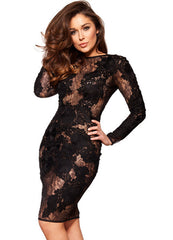 Black Hollow Out Embroidery Bodycon Knee-Length Dress - Oh Yours Fashion - 4