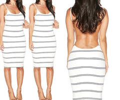 Backless Stripe Knee Length Bodycon Dress - O Yours Fashion - 3