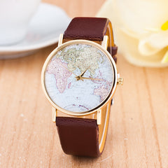 The World Map Faux Leather Strap Watch - Oh Yours Fashion - 1