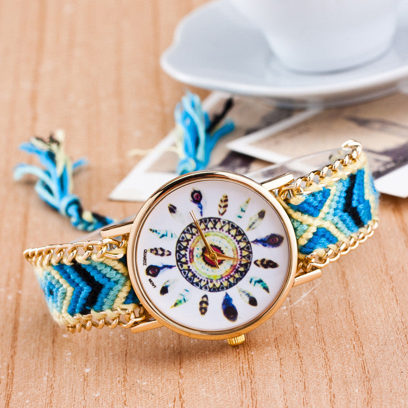 Peacock Feathers Print Weaving Watch - Oh Yours Fashion - 10
