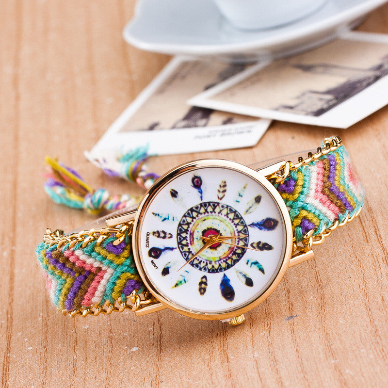 Peacock Feathers Print Weaving Watch - Oh Yours Fashion - 4