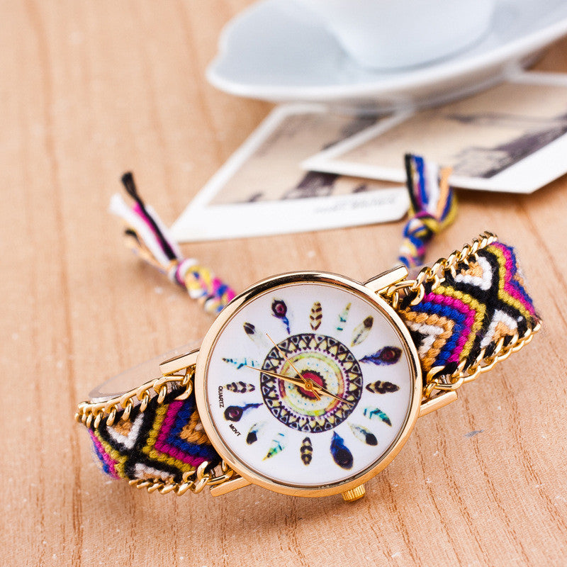 Peacock Feathers Print Weaving Watch - Oh Yours Fashion - 13