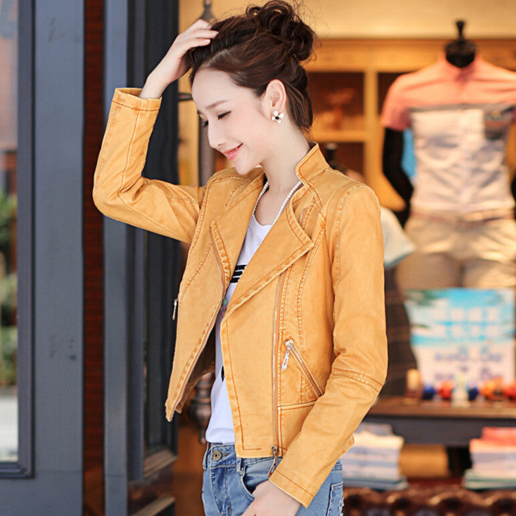 Zipper Pockets Lapel Crop Slim Jacket - Oh Yours Fashion - 4
