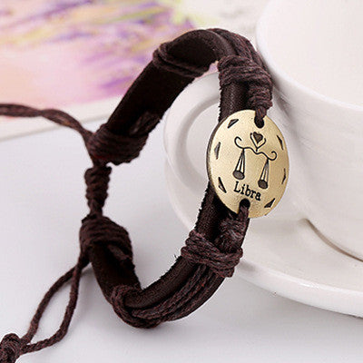 Retro Style 12 Constellation Leather Bracelet - Oh Yours Fashion - 1