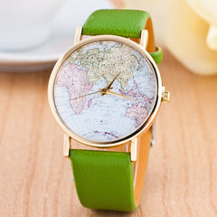 The World Map Faux Leather Strap Watch - Oh Yours Fashion - 2