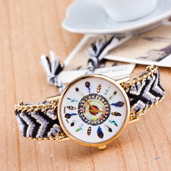 Peacock Feathers Print Weaving Watch - Oh Yours Fashion - 1