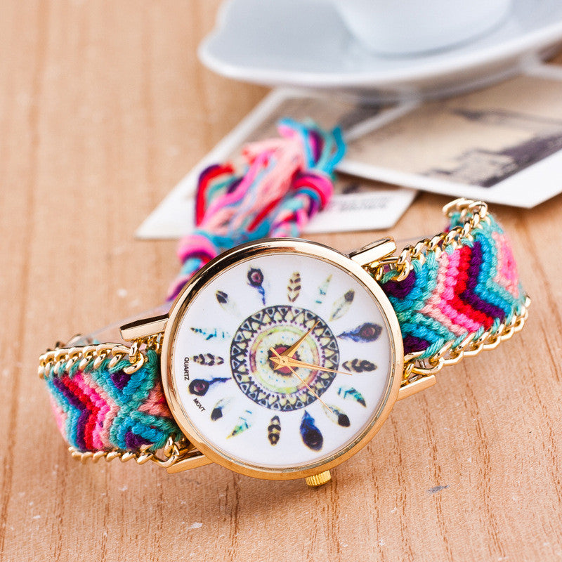 Peacock Feathers Print Weaving Watch - Oh Yours Fashion - 2