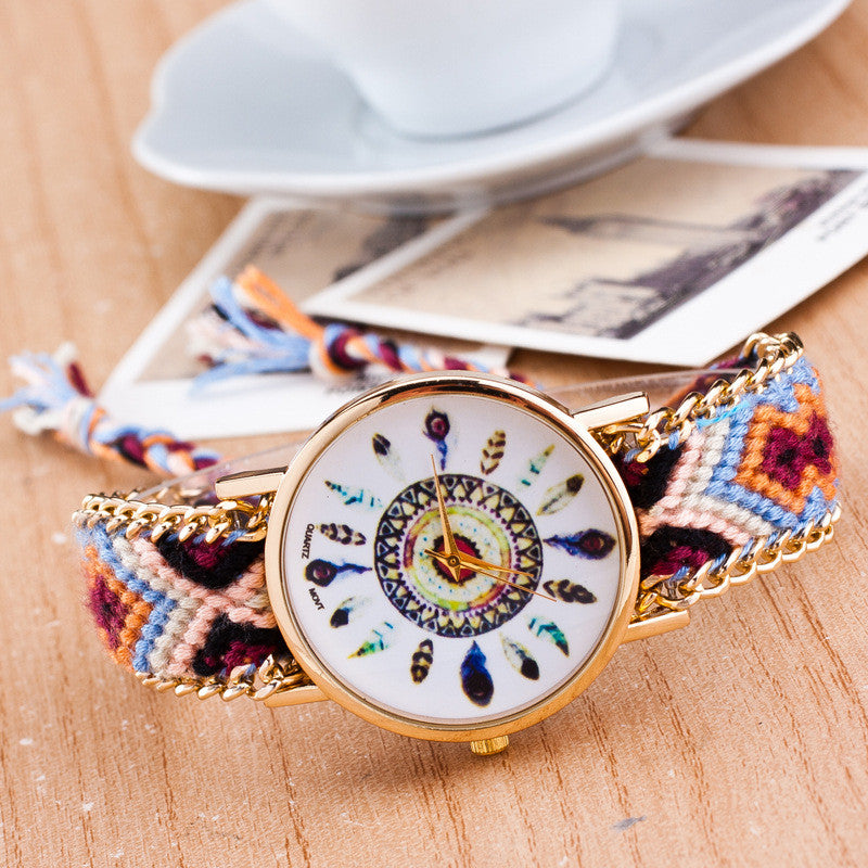 Peacock Feathers Print Weaving Watch - Oh Yours Fashion - 11