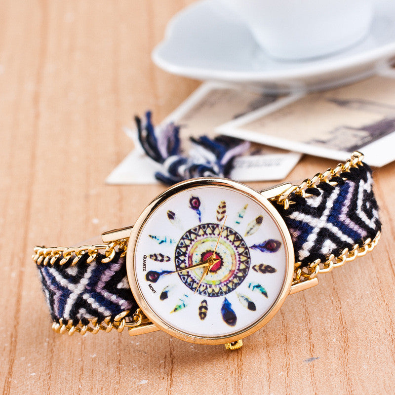 Peacock Feathers Print Weaving Watch - Oh Yours Fashion - 12