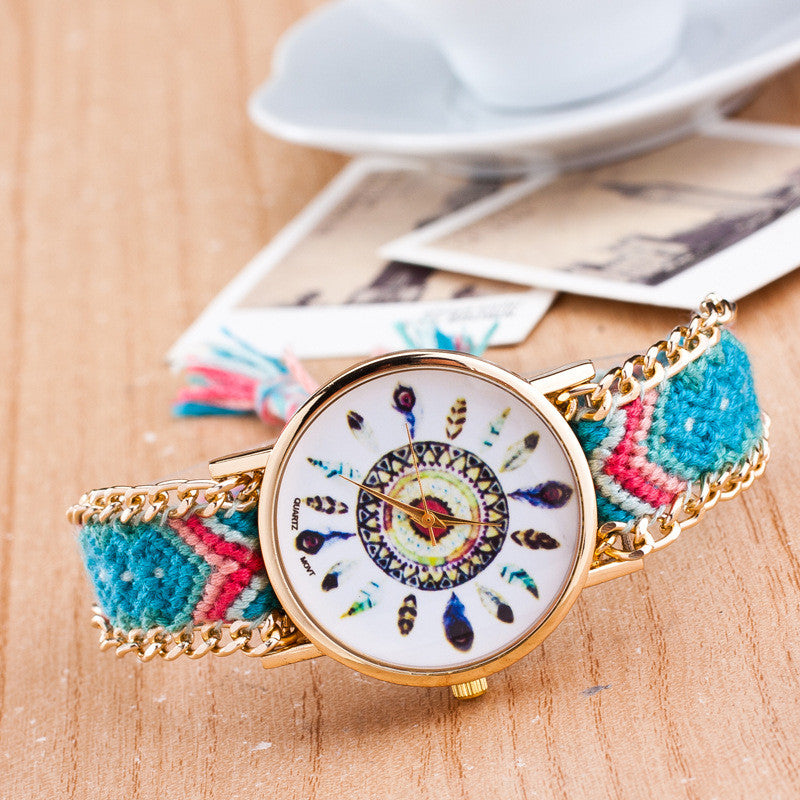 Peacock Feathers Print Weaving Watch - Oh Yours Fashion - 6