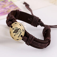 Retro Style 12 Constellation Leather Bracelet - Oh Yours Fashion - 2