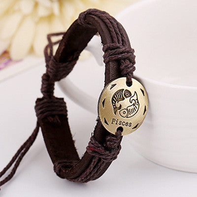 Retro Style 12 Constellation Leather Bracelet - Oh Yours Fashion - 8