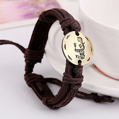 Retro Style 12 Constellation Leather Bracelet - Oh Yours Fashion - 5