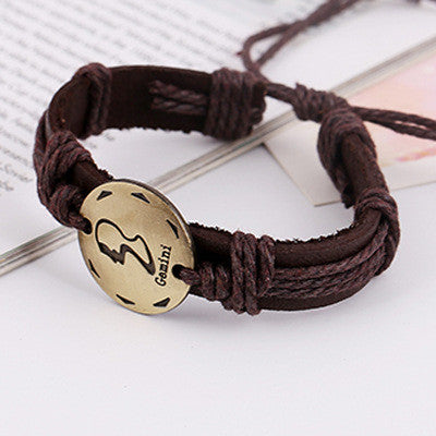 Retro Style 12 Constellation Leather Bracelet - Oh Yours Fashion - 6