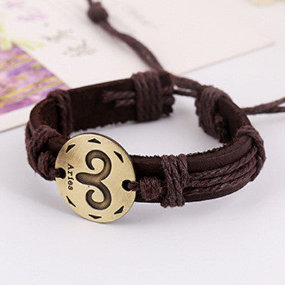 Retro Style 12 Constellation Leather Bracelet - Oh Yours Fashion - 4
