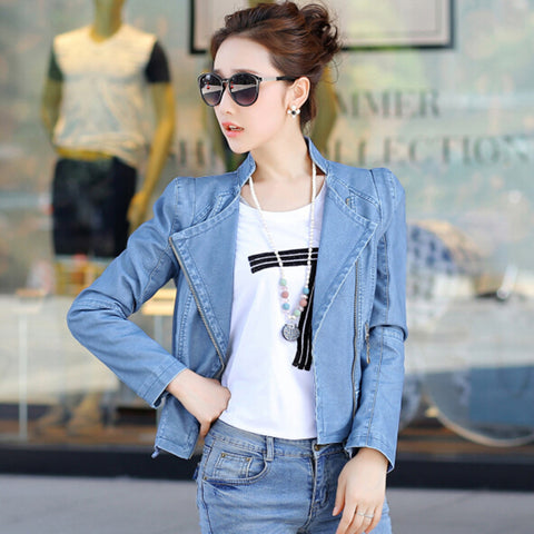 Zipper Pockets Lapel Crop Slim Jacket