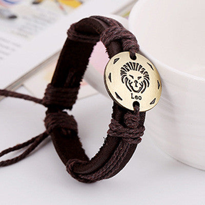 Retro Style 12 Constellation Leather Bracelet - Oh Yours Fashion - 11