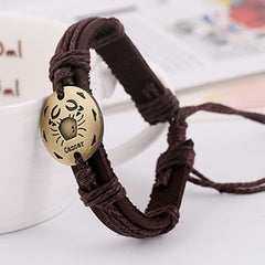 Retro Style 12 Constellation Leather Bracelet - Oh Yours Fashion - 12