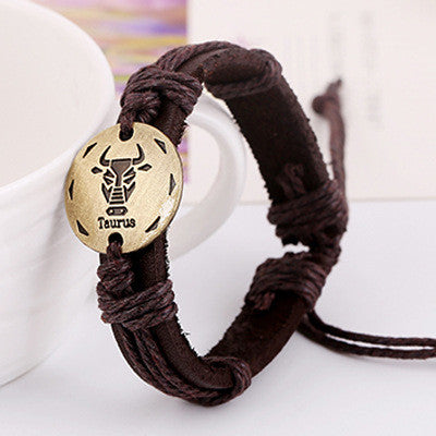 Retro Style 12 Constellation Leather Bracelet - Oh Yours Fashion - 9