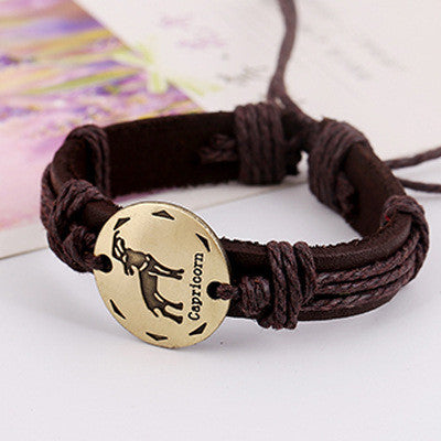 Retro Style 12 Constellation Leather Bracelet - Oh Yours Fashion - 10