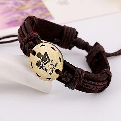 Retro Style 12 Constellation Leather Bracelet - Oh Yours Fashion - 3