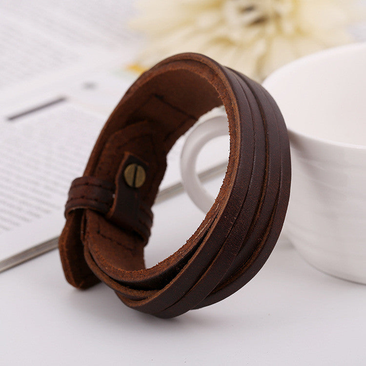 Punk Style Retro Wide Strap Woven Bracelet - Oh Yours Fashion - 2