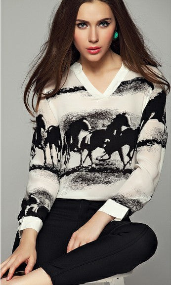 House Print v-neck Long Sleeves Chiffon Blouse - Oh Yours Fashion - 2