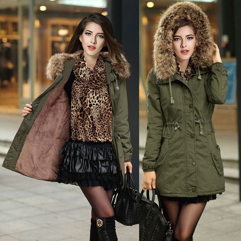 Faux Fur Collar Long Winter Hooded Coat - Oh Yours Fashion - 1