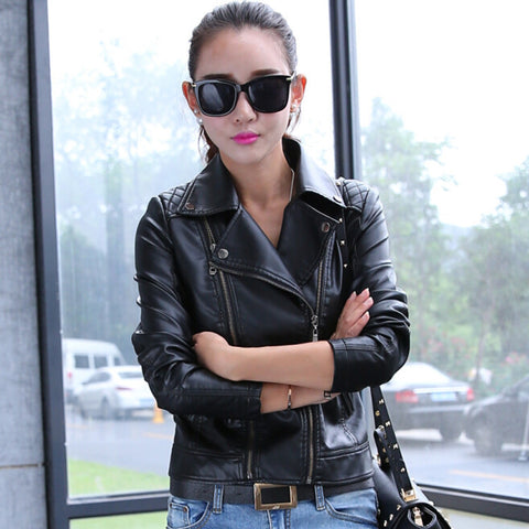 Oblique Zipper Lapel Pockets Rivet Crop Jackets