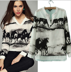 House Print v-neck Long Sleeves Chiffon Blouse - Oh Yours Fashion - 1