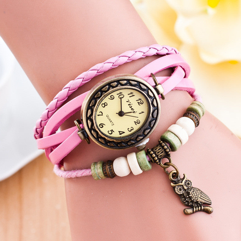Retro Owl Pendant Woven Bracelet Watch - Oh Yours Fashion - 10