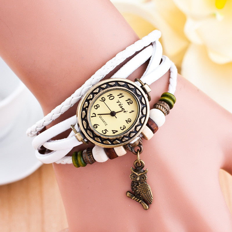Retro Owl Pendant Woven Bracelet Watch - Oh Yours Fashion - 1